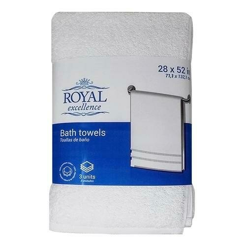 Royal Excellence Bath Towels in White 3 Units