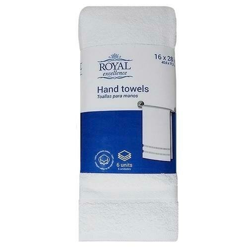 Royal Excellence Hand Towel in White 6 Units