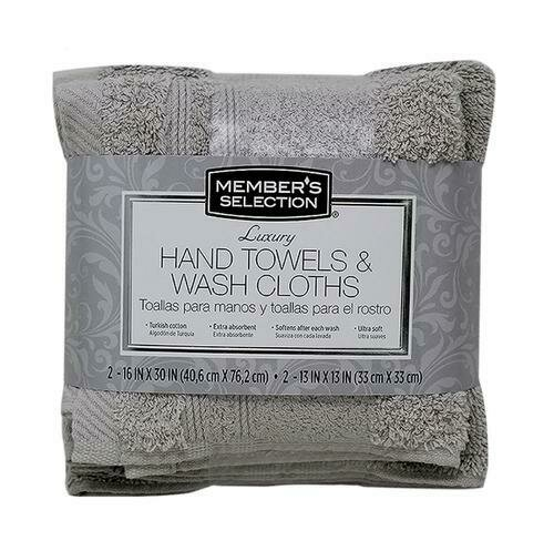 Member's Selection Luxury Hand Towels and Wash Cloths in Grey 4 Pack