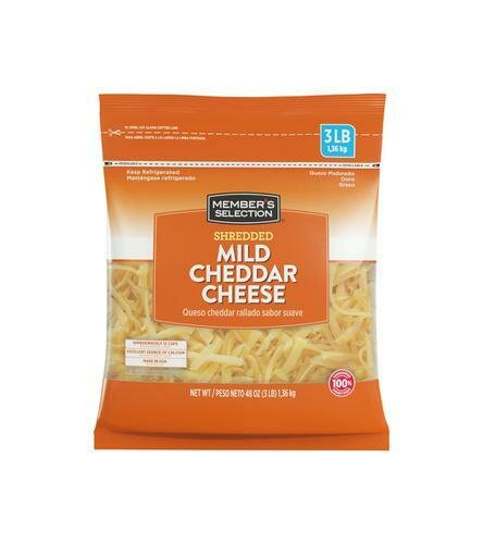 Member's Selection Shredded Mild Cheddar Cheese, 1.36 kg / 3 lb
