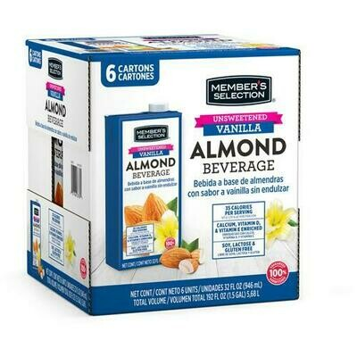 Member's Selection Unsweetened Vanilla Almond Beverage 6 pk/32 oz