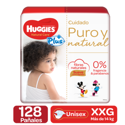 Huggies Pure and Natural Care Plus Diapers 128 units / size XXG