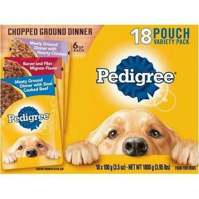 Pedigree Dog Food Variety 18 Pouches - 3.5 oz/ 100 g
