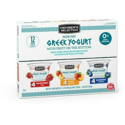 Member's Selection Non Fat Greek Yogurt with Fruit on the Bottom 150 g / 5.3 oz 12 Pack