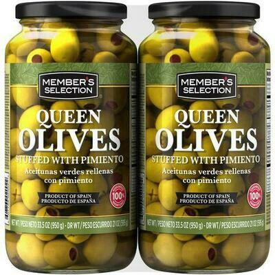 Member's Selection Queen Olives Stuffed with Pimiento 2 pk/33.5 oz