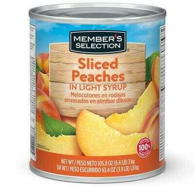 Member's Selection Sliced Peaches in Light Syrup 3 kg / 6.6 lb