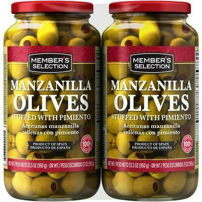 Member's Selection Manzanilla Olives Stuffed with Pimento 2 pk/33.5 oz