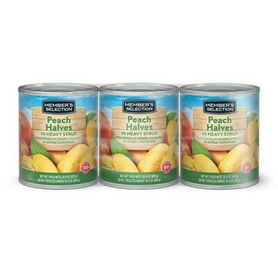 Member's Selection Peach Halves in Heavy Syrup 820 g / 28.9 oz 3 Pack