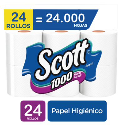 Scott Toilet Paper 1000 Sheets, 24 Rolls