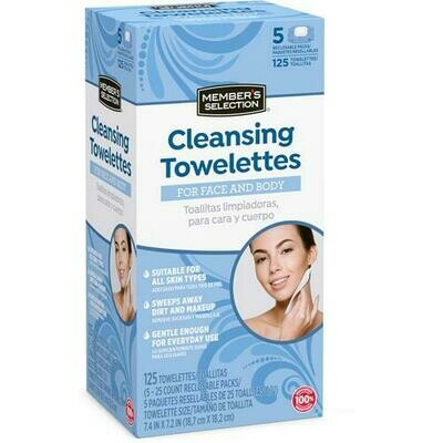 Member's Selection Cleansing Towelettes for Face and Body 125 Towelettes