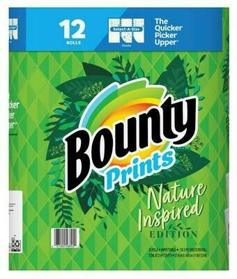 Bounty Prints Nature Inspired Paper Towels 12 ct/135 sheets