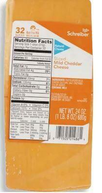 Schreiber Sliced Mild Cheddar  680 g / 1.5lb