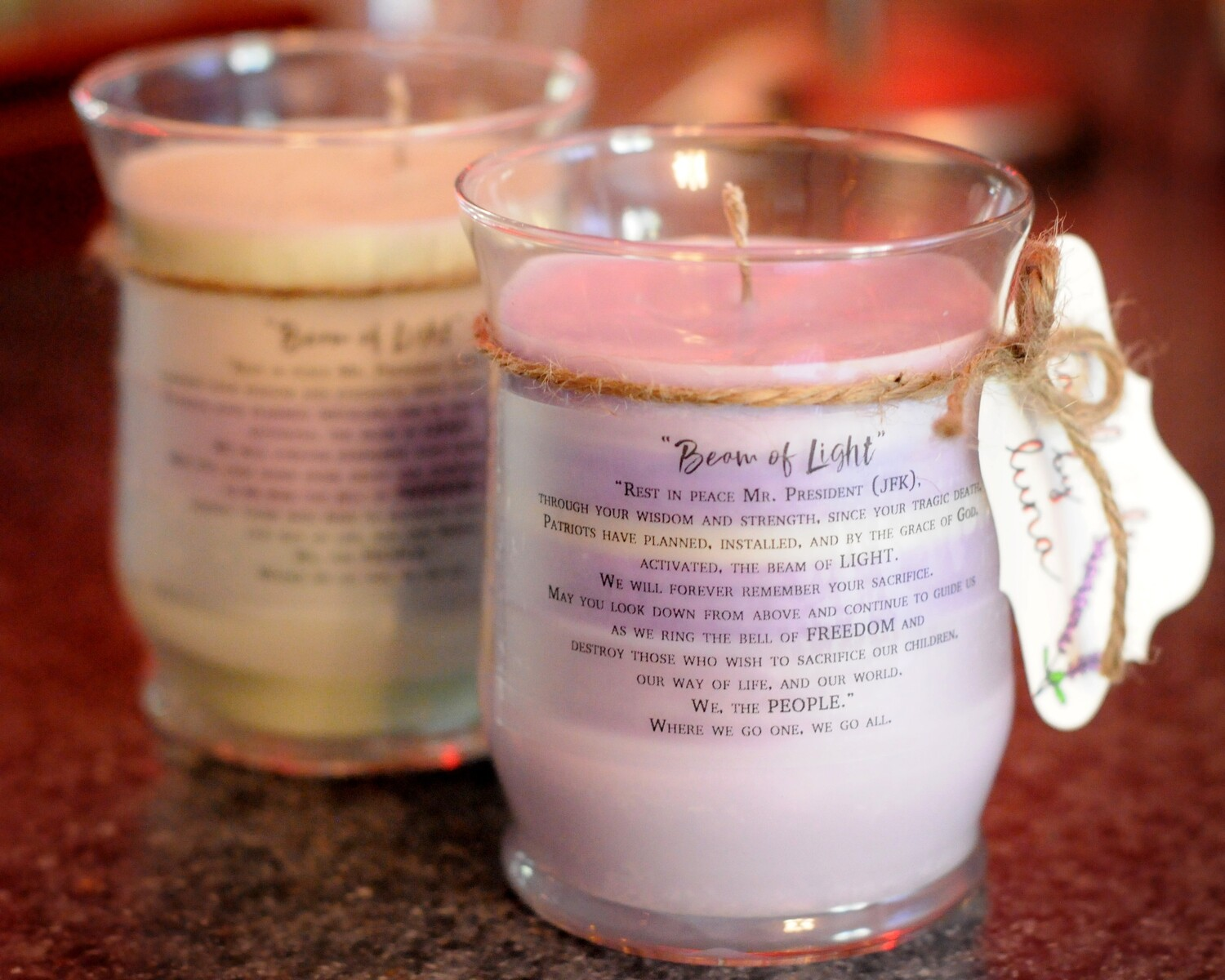 """Beam of Light"" #703/JFK Handmade 14oz Soy Candle"