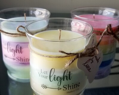 """Shine your Light"" 14oz hand poured, all-natural soy candle"