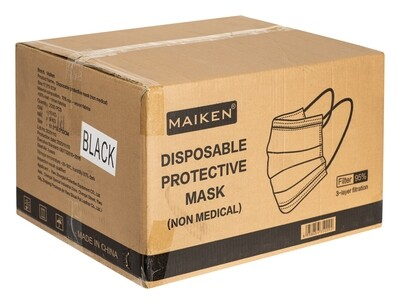 BLACK 3 Ply Disposable Face Masks (Case of 2000)
