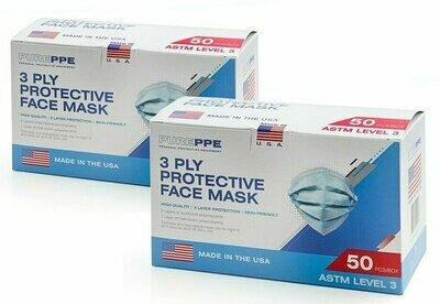 100 3 Ply Disposable Face Masks (2 Boxes of 50) ASTM Level 3 USA MADE