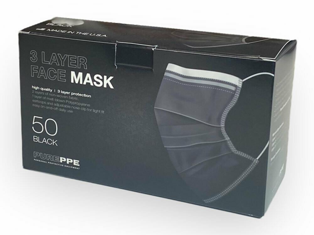 BLACK 3 Ply Disposable USA Face Masks (Box of 50)
