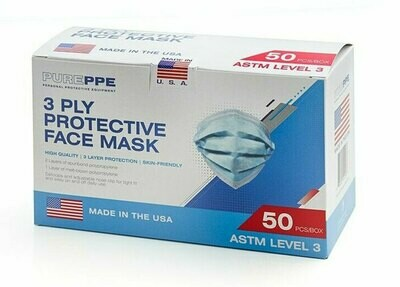 3 Ply Disposable Face Masks (Box of 50) ASTM Level 3 USA MADE