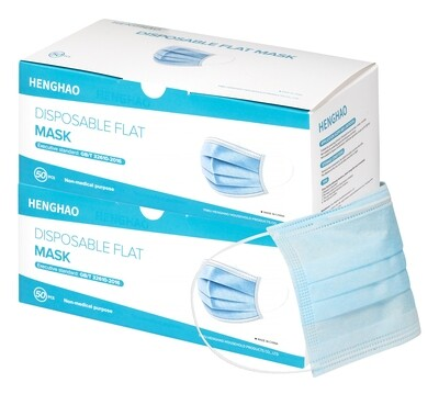 100 3 Ply Disposable Face Masks (2 Boxes of 50)