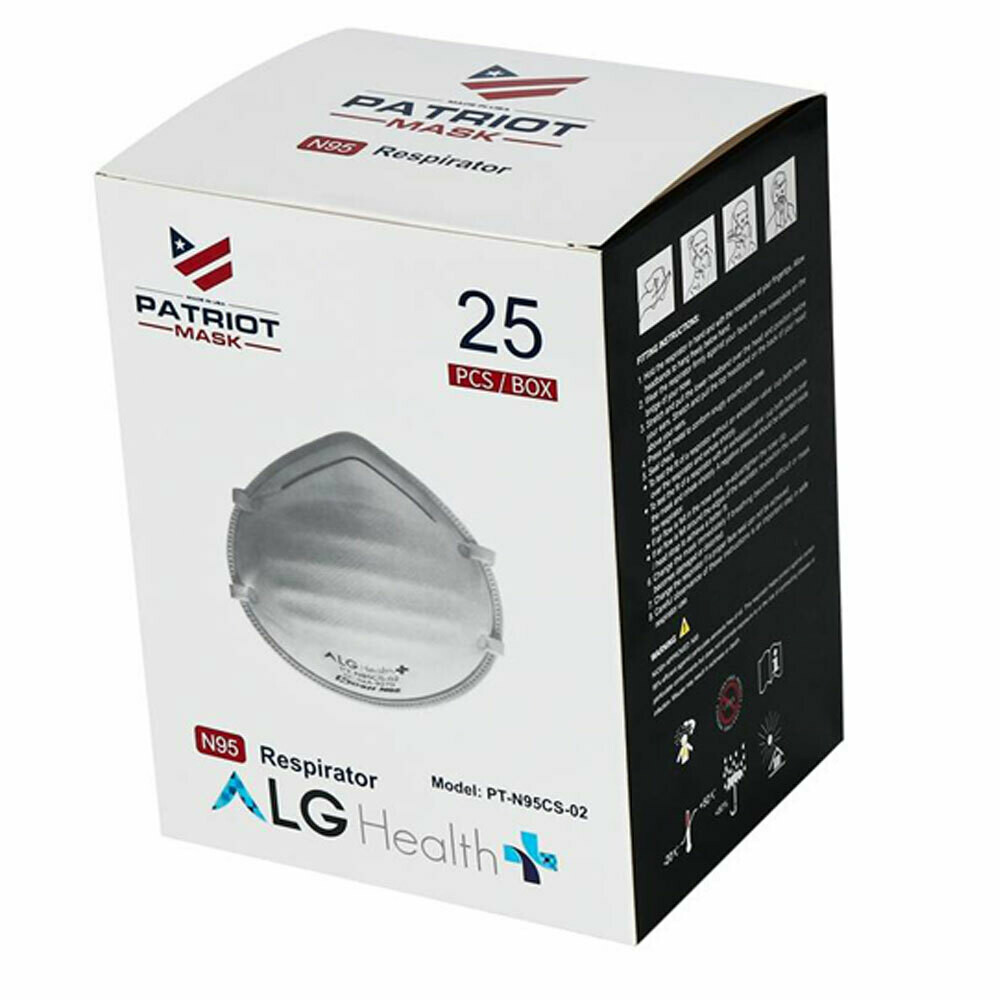 25 ALG Patriot Surgical N95 Respirators Small Size (Box of 25)