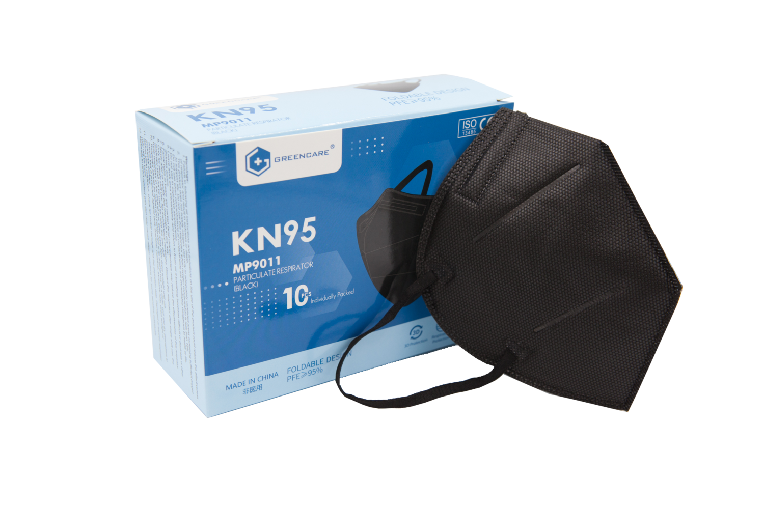 Greencare BLACK KN95 Face Mask (Box of 10) **Individually Wrapped**