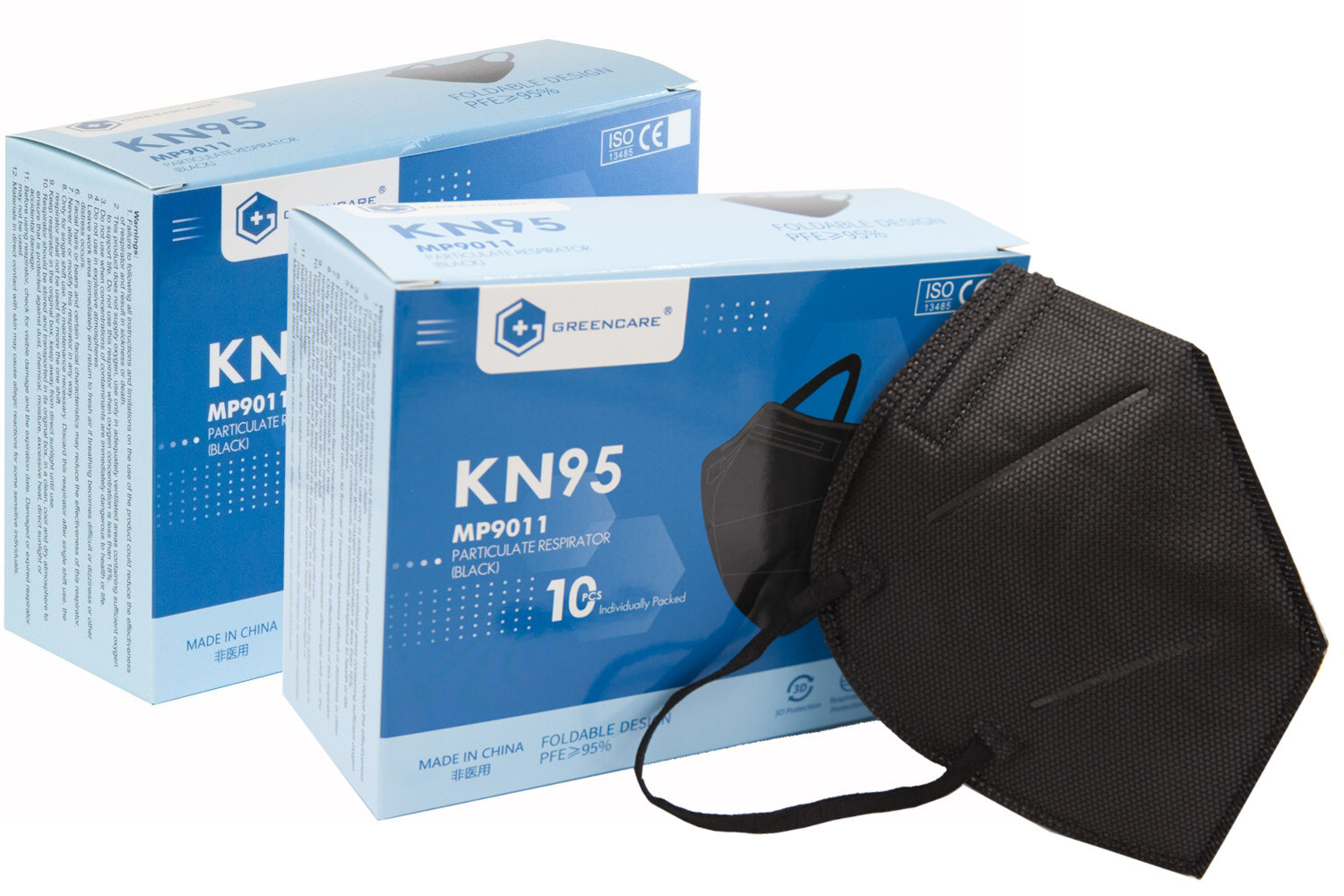 20 Greencare BLACK KN95 Face Mask (2 boxes of 10) **Individually Wrapped**
