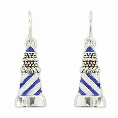 EARRINGS - BLUE AND WHITE LIGHTHOUSE