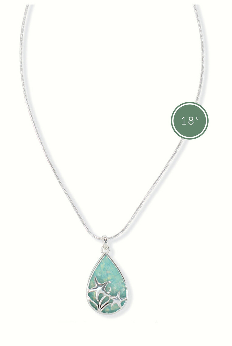 NECKLACE - STARFISH ON GREEN