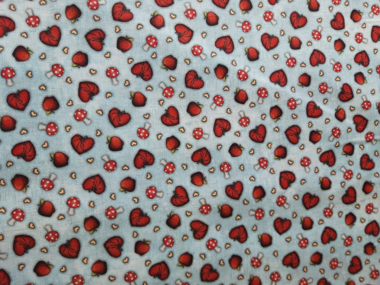 Santoro Gorjuss My Story Pale blue hearts/toadstools fabric