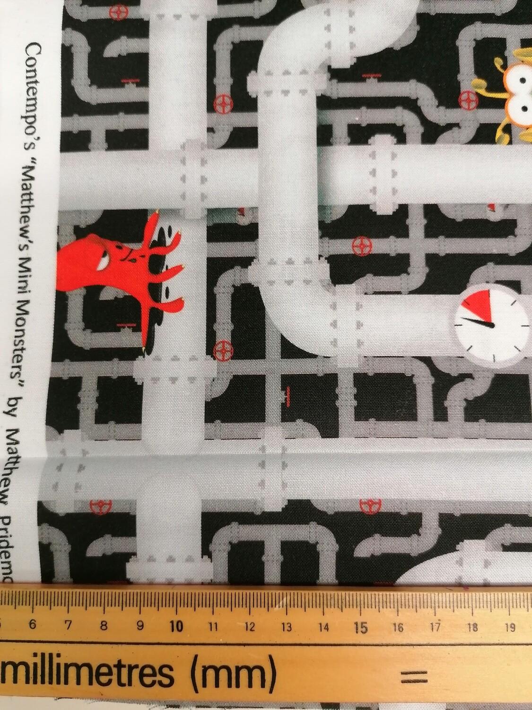 Benartex Matthew's Mini Monsters Pipes fabric