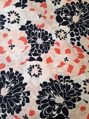 Cotton Poplin with Lycra - Navy flowers