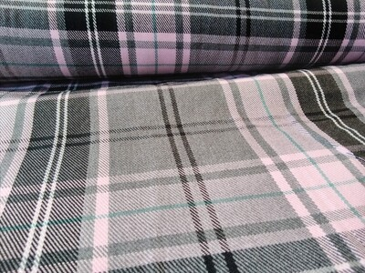 Poly-Viscose Tartan -Pink and Grey