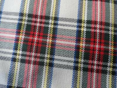 Poly-Viscose Twill Tartan - White