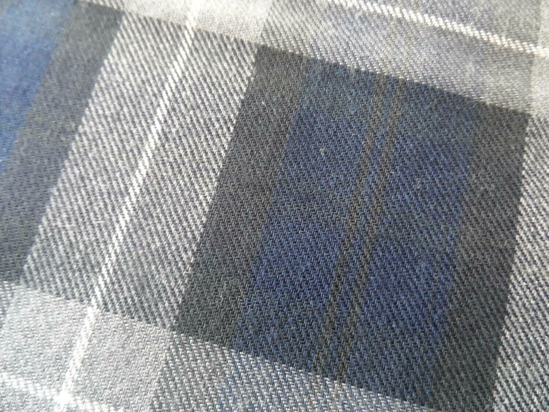 Cotton-Viscose Tartan - Navy Grey
