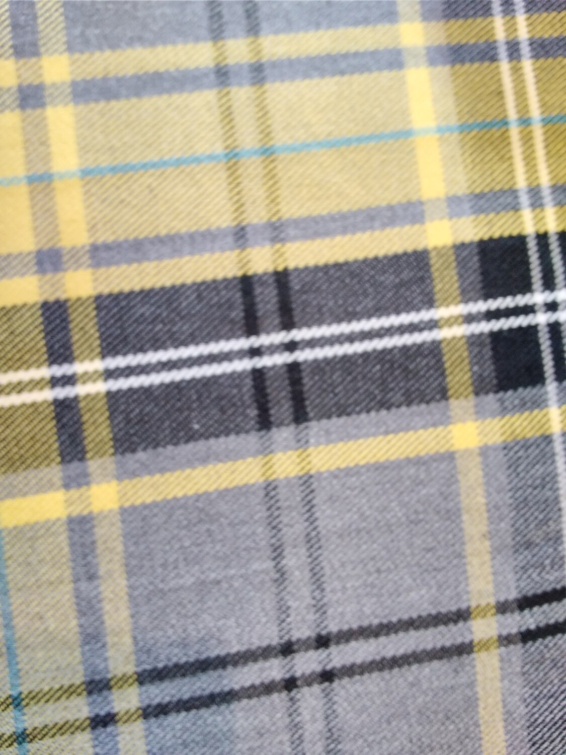 Poly-Viscose Tartan - Yellow/Grey