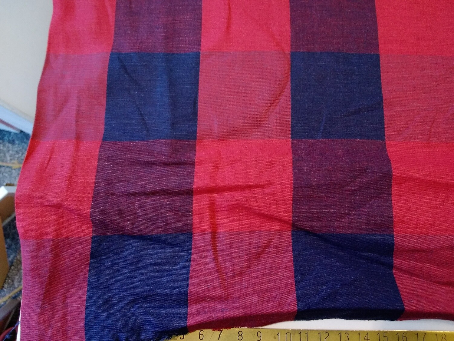 Linen-Cotton Check - red and blue