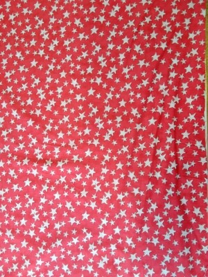 Cotton lawn - red with white stars