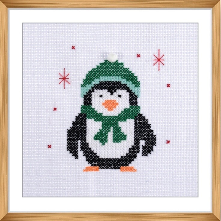 Mini Counted Cross Stitch Kit: Penguin