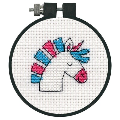 Counted Cross Stitch Kit with Hoop: Unicorn Fun