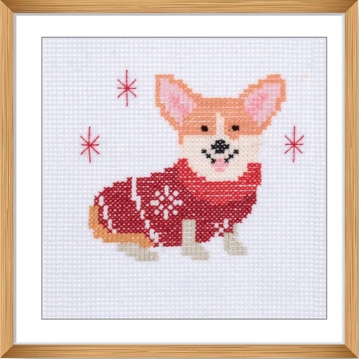Mini Counted Cross Stitch Kit: Festive Corgi
