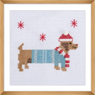 Mini Counted Cross Stitch Kit: Festive Daschund