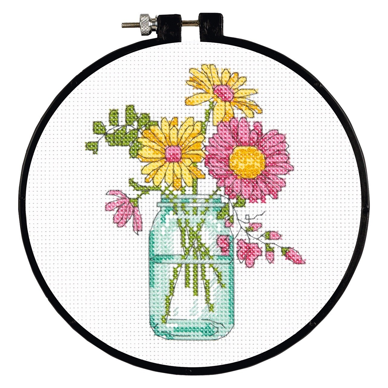 Learn-a-Craft: Counted Cross Stitch Kit with Hoop: Summer Flowers