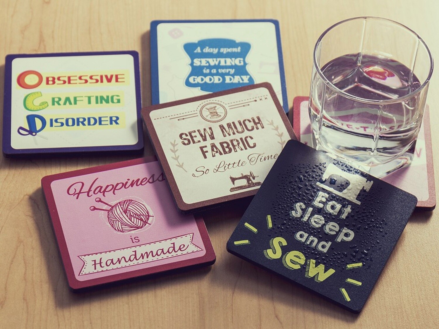 Sewing Themed Coasters: 6 designs