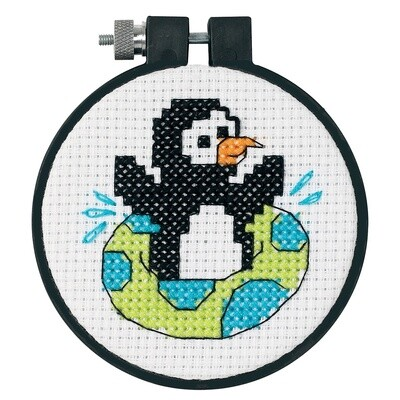 Learn-a-Craft: Counted Cross Stitch Kit with Hoop: Playful Penguin