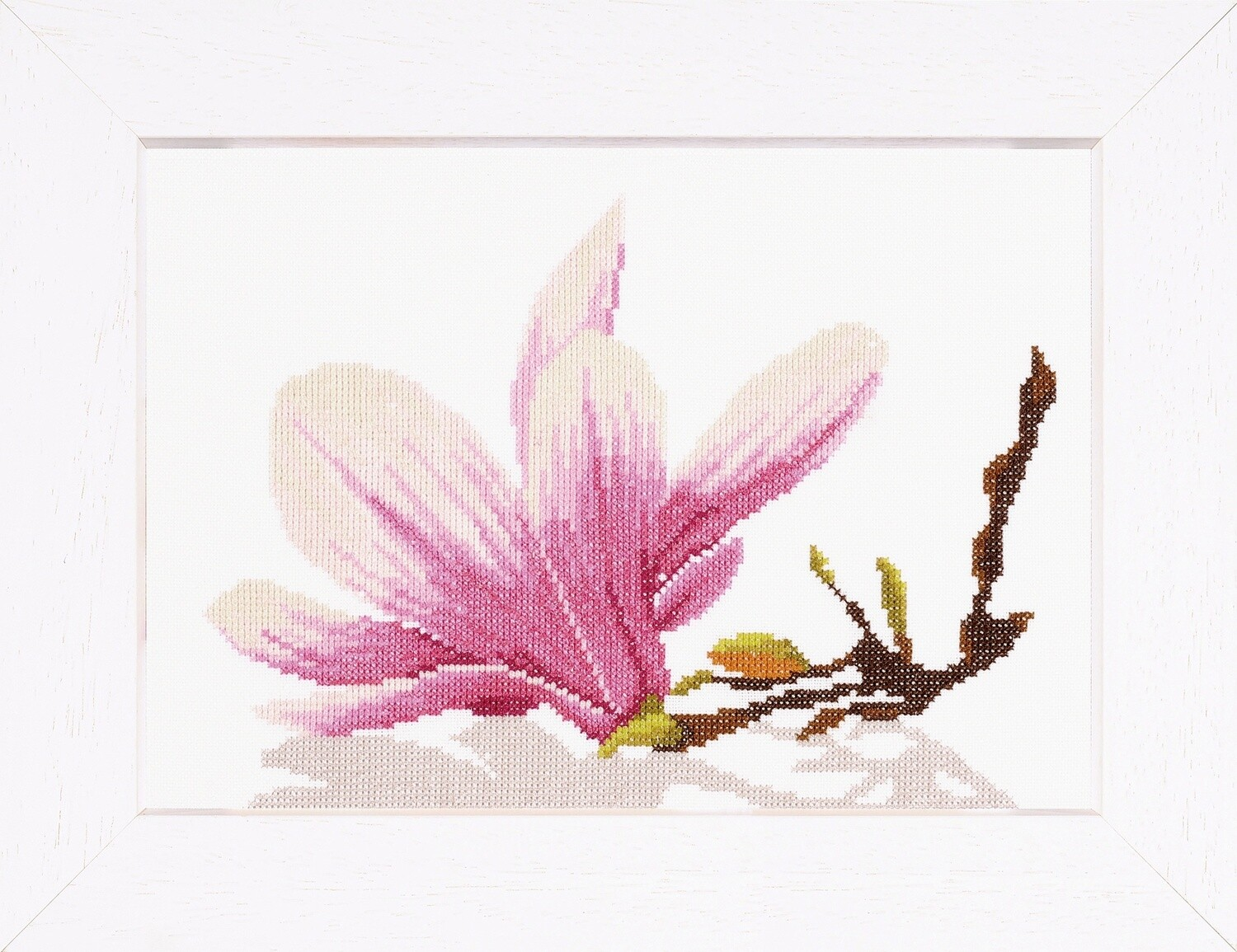 Counted Cross Stitch Kit: Magnolia Twig with Flower (AidaW)