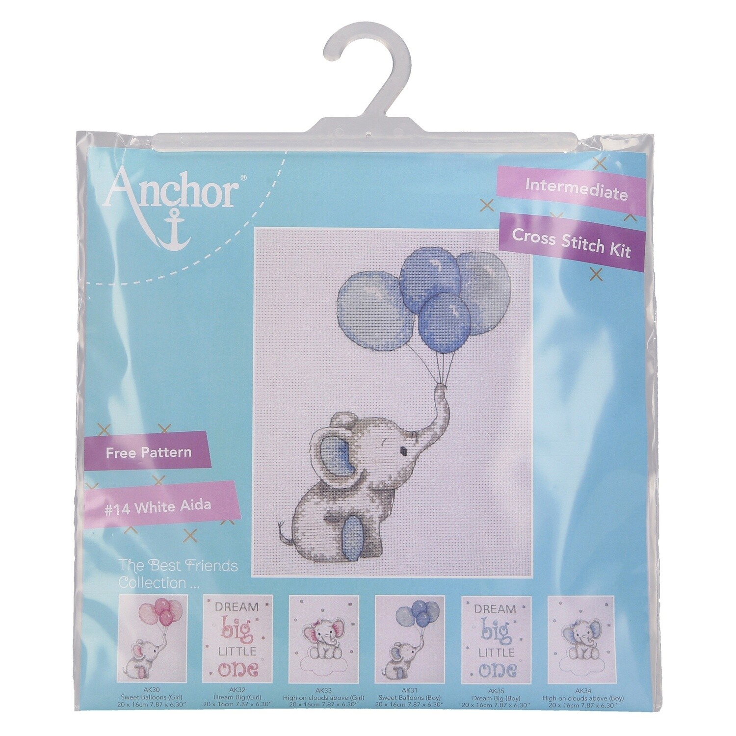 Counted Cross Stitch Kit: Boy Balloons
