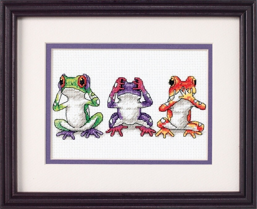 Mini Counted Cross Stitch: Treefrog Trio