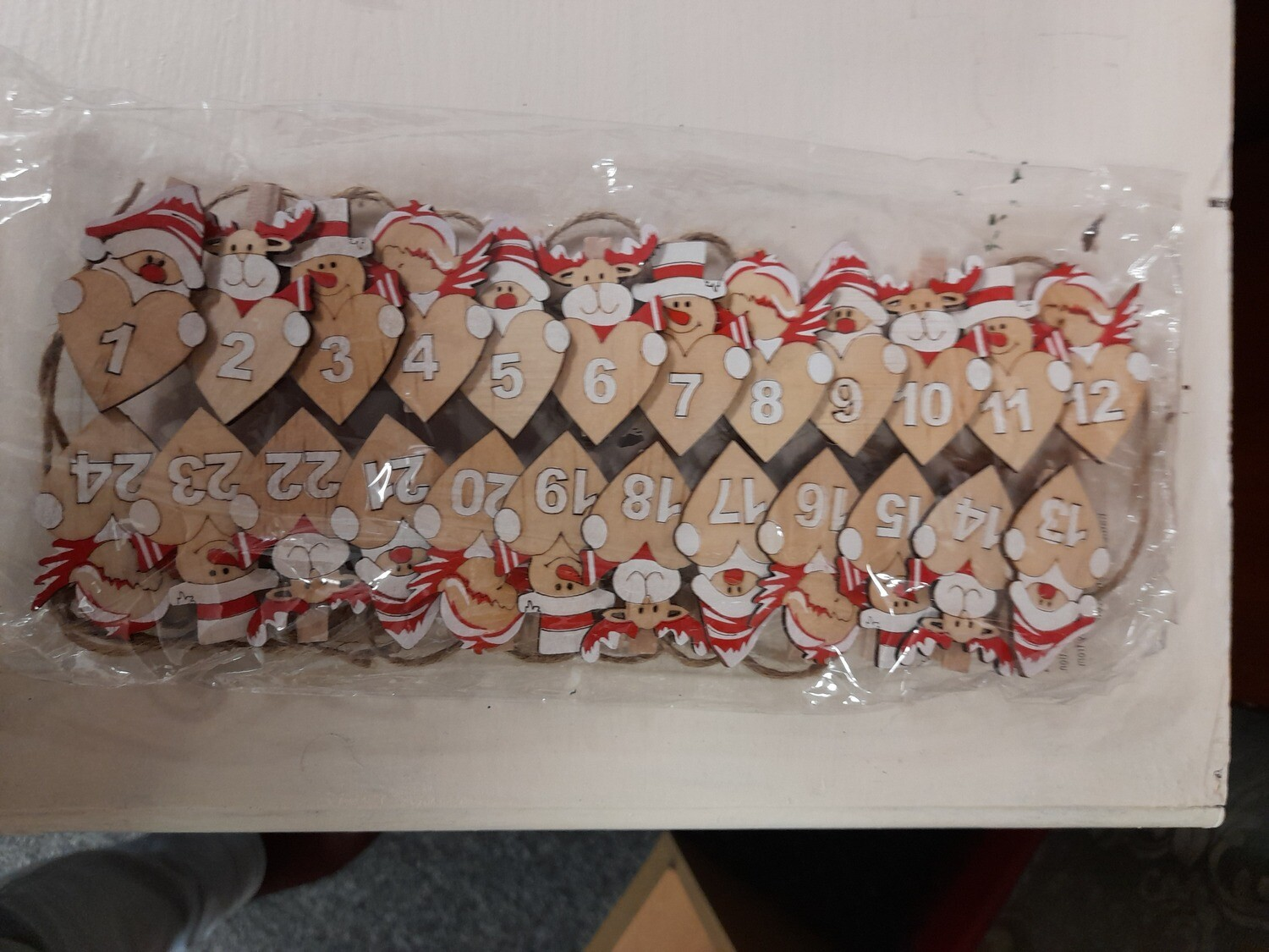 Christmas Advent Pegs with hearts