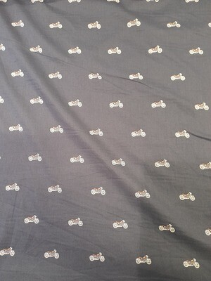 Cotton Lawn - Navy with motorbikes