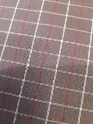 Cotton Poplin Shirting Burgundy Check
